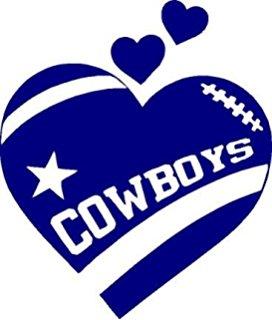 Texas Cowboys Heart Football In Navy Blu-Texas Cowboys Heart Football In Navy Blue 5 inches Dallas Decal Sticker-17