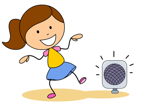 Dance Girl Dancing To Boom Box Music Classroom Clipart