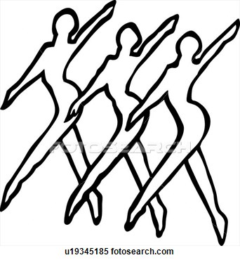 Dance Line View Large Clip Art Graphic