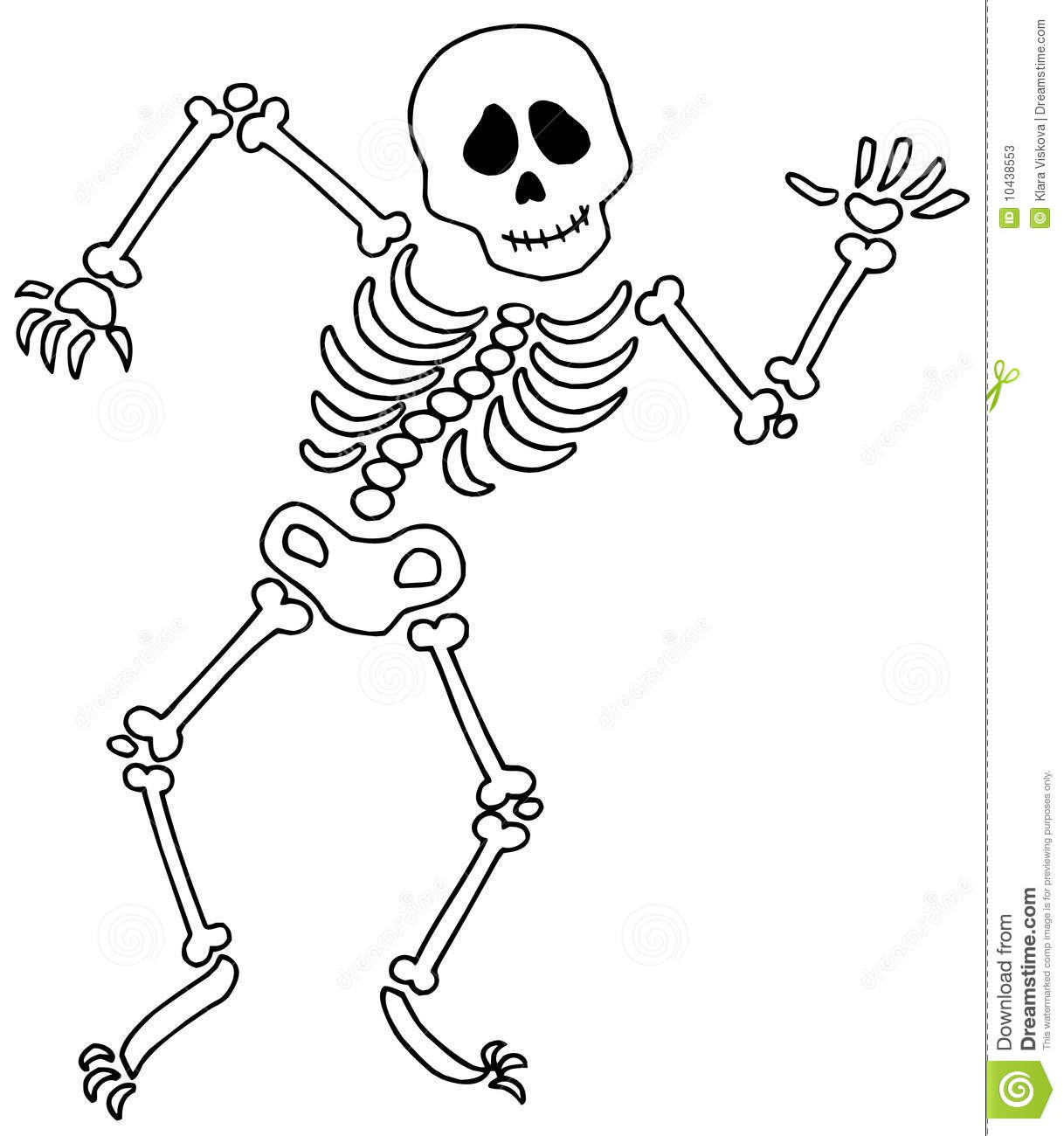 Dancing Skeleton On White Background Vector Illustration