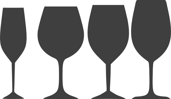 Dark Gray Wine Glasses clipart