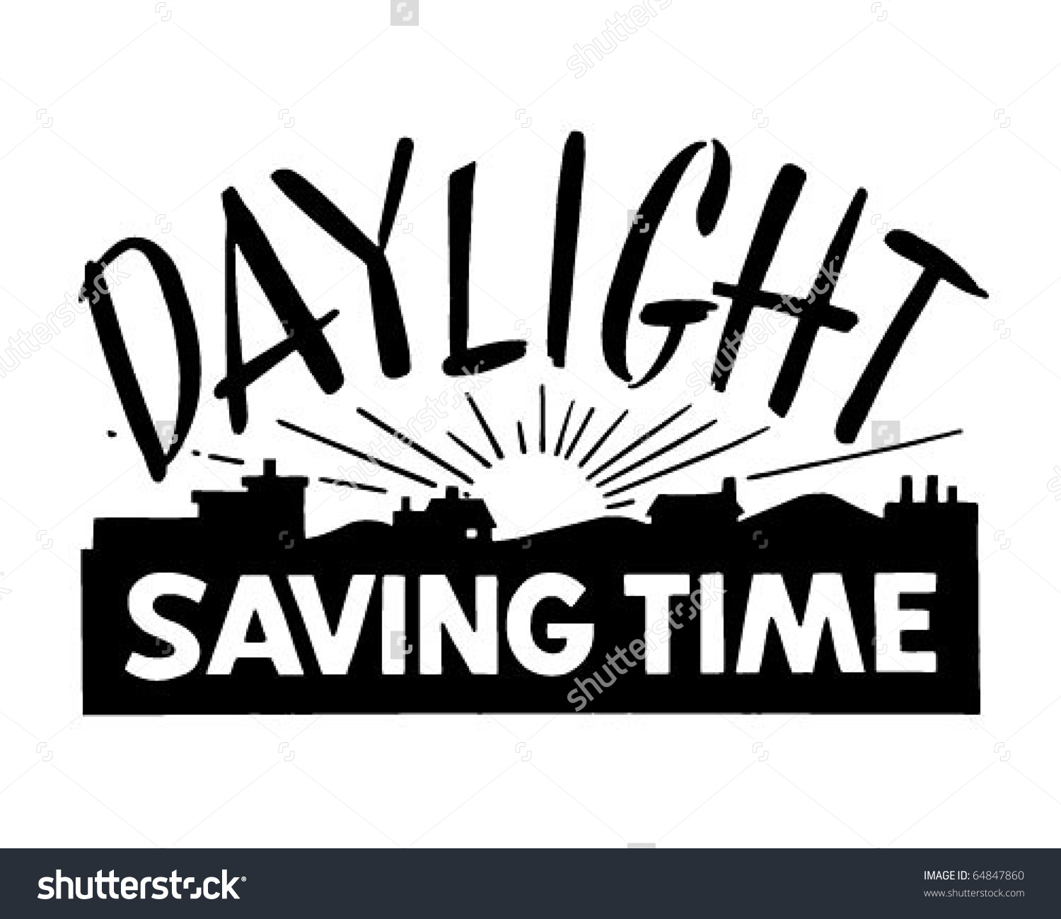 Daylight Saving Time - Ad Banner - Retro Clipart