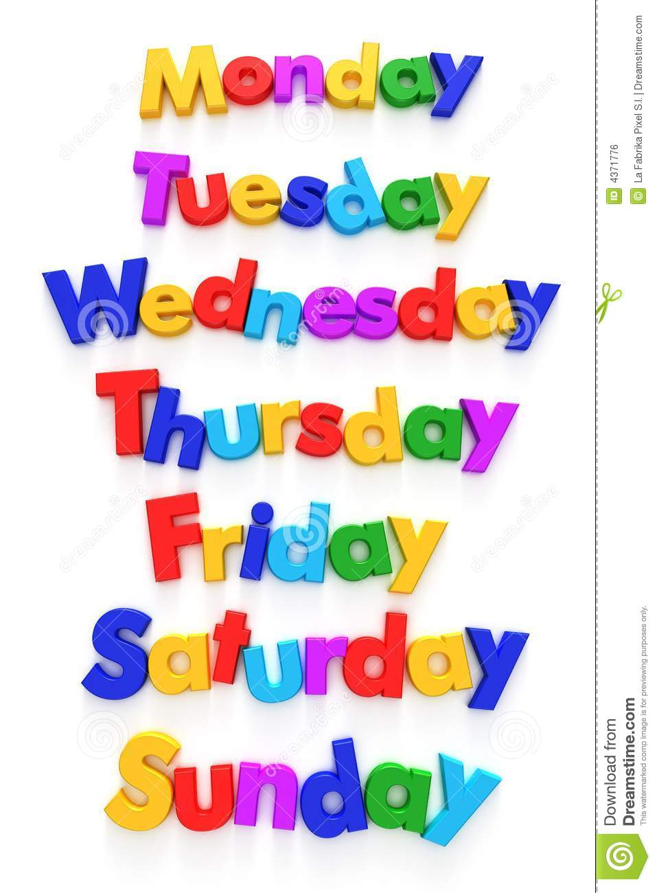 Days Of The Week Clip Art Days Of The Week In Letter