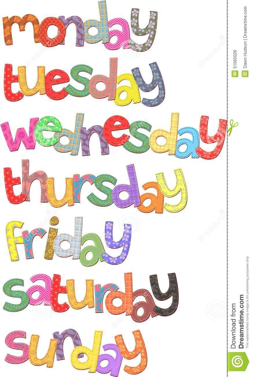 Days Of The Week Text Clip Art Resemblin-Days Of The Week Text Clip Art Resembling Fabric With Stitching-2