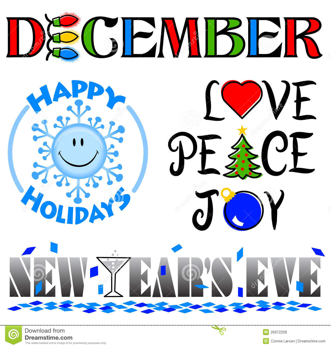December Events Clip Art Set Eps Royalty Free Stock Images Image