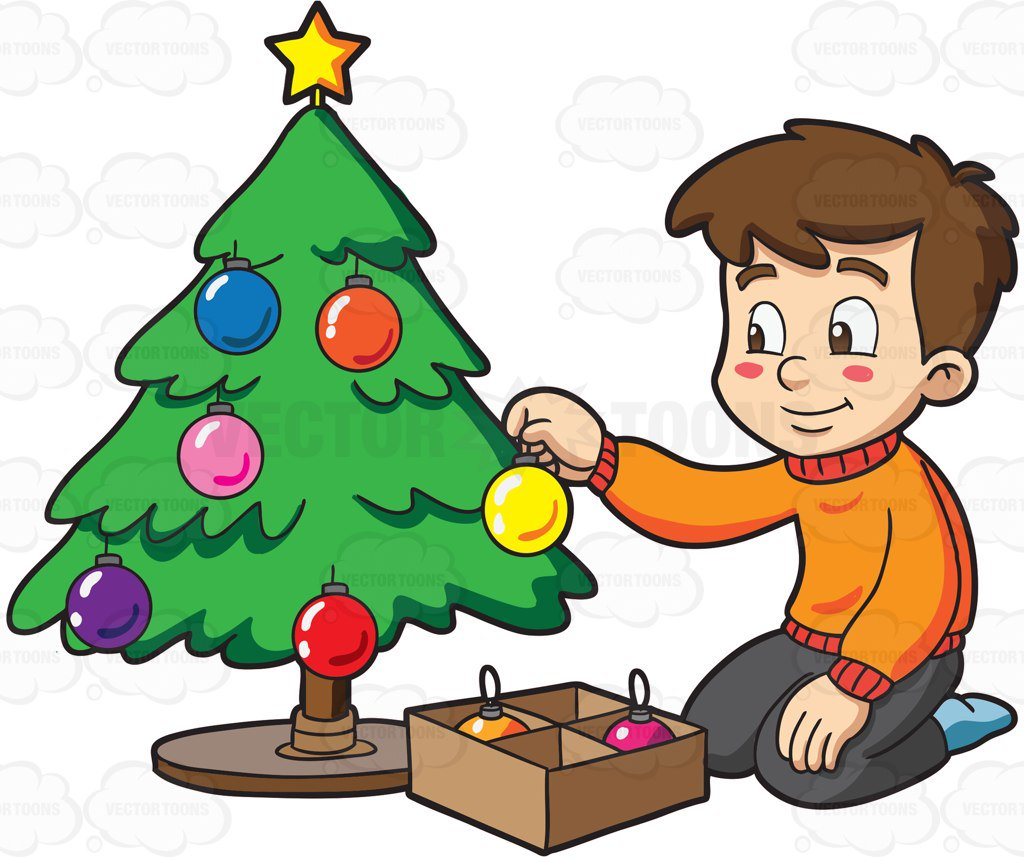 A boy decorating a Christmas  - Decorate Clipart
