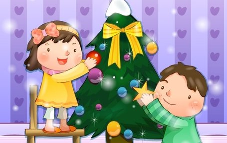 . ClipartLook.com Boy and Girl decorate the Christmas tree