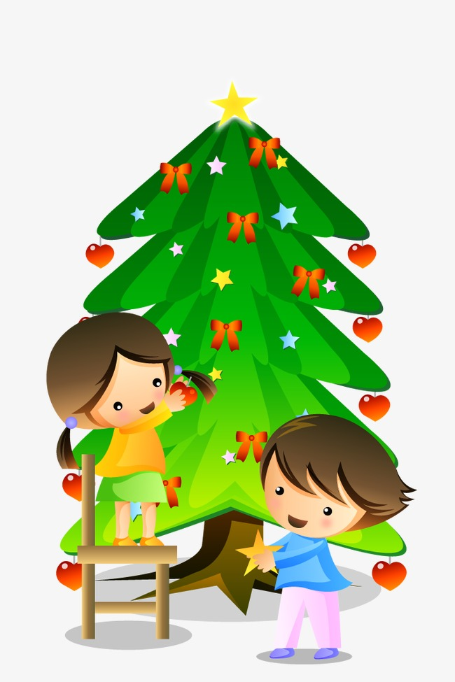 cartoon children decorate the christmas tree, Cartoon, Child, Decoration  PNG Image and Clipart