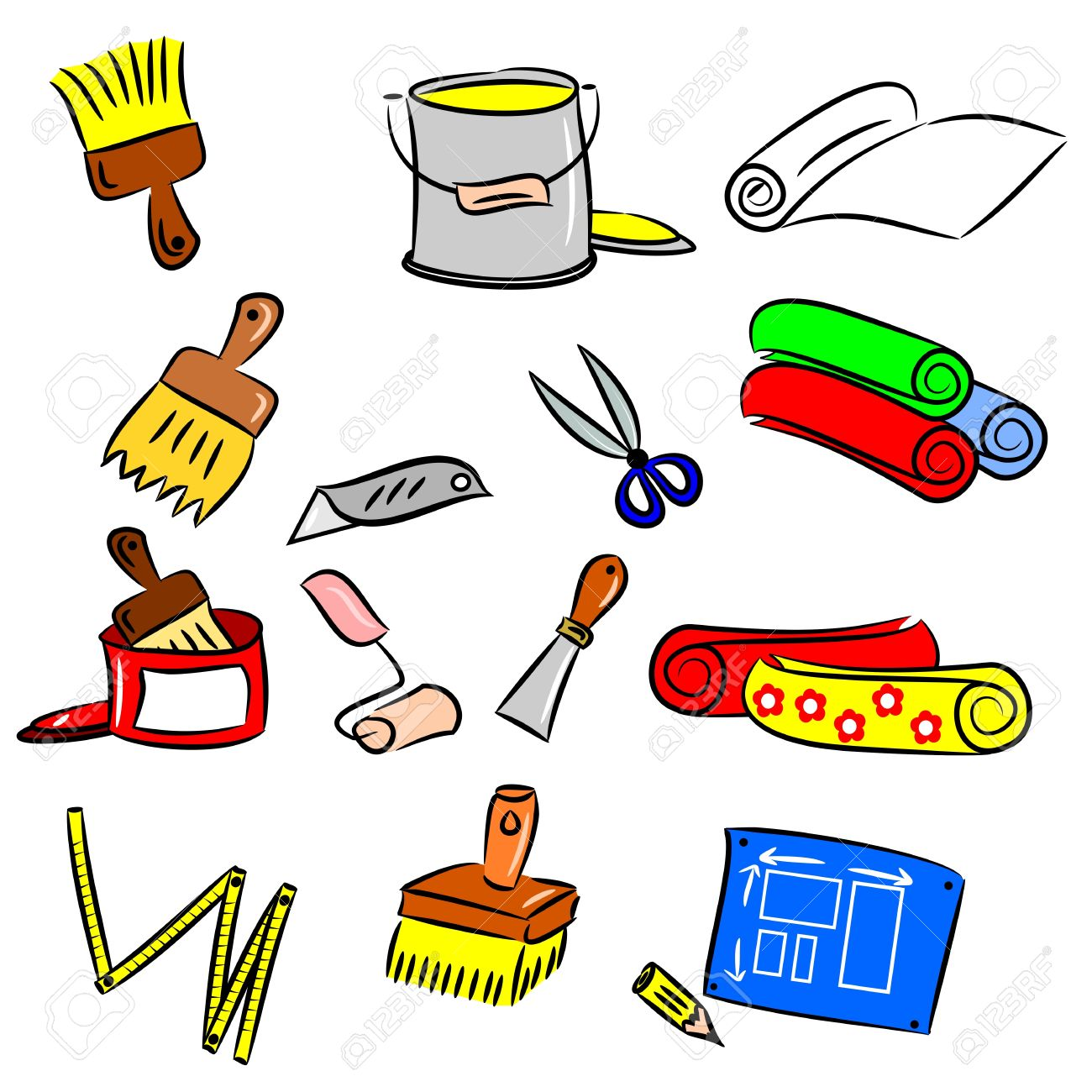 cartoon drawings of DIY tools - Decorate Clipart