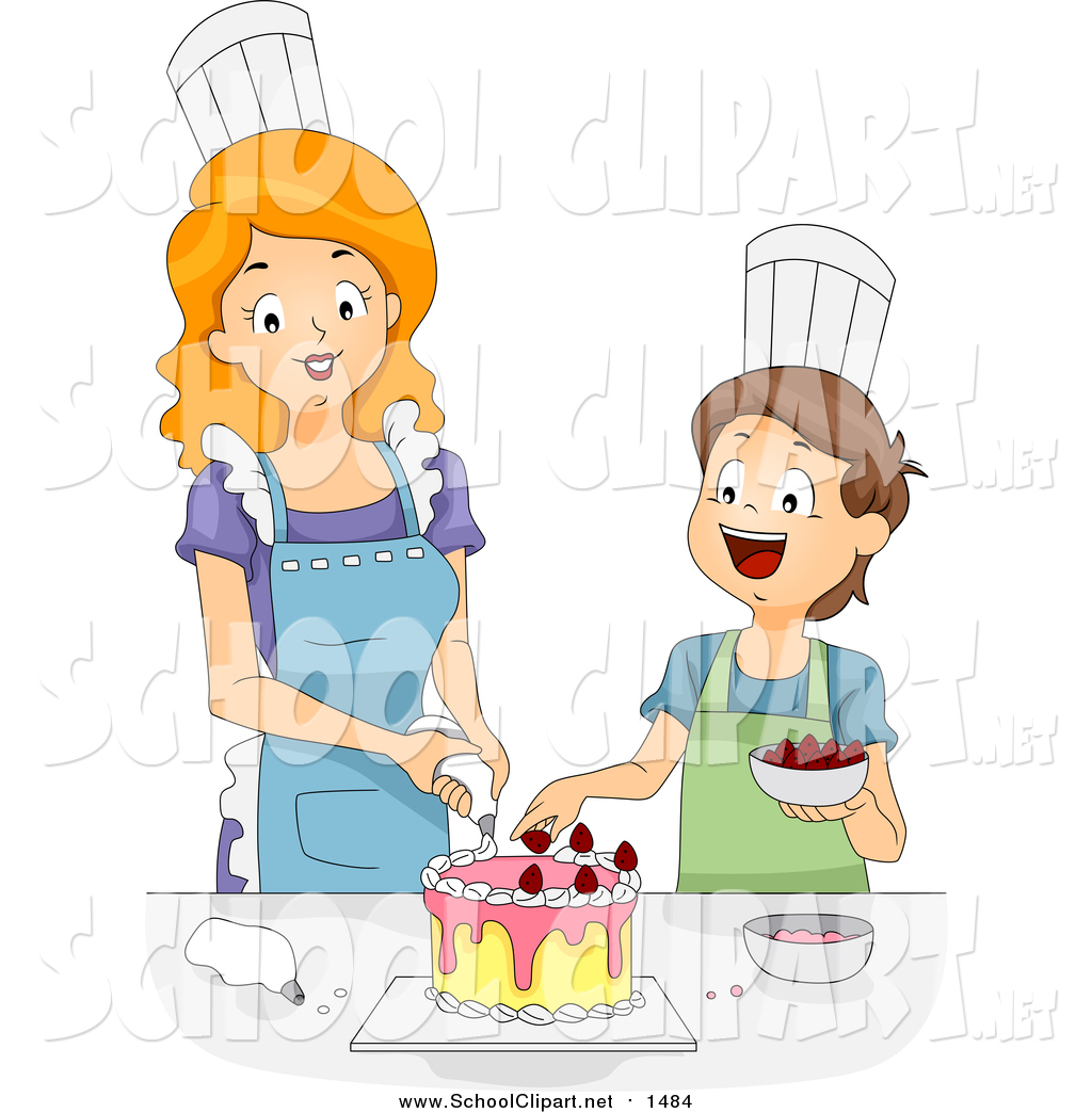 Clip Art of a Caucasian Female Home Economics Teacher Helping a Boy Decorate  a Cake