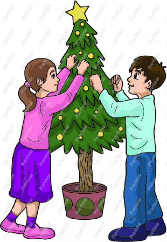 decorating clipart cartoon boy and girl decorating a christmas tree clip art  plant clipart