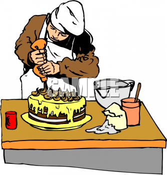Description: This clip art illustration of a chef decorating a chocolate  layer cake. In this image a chef is using a pastry bag of icing to decorate  a cake.