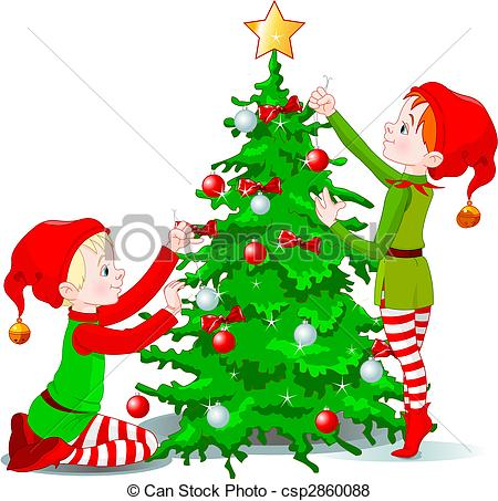Elves decorate a Christmas Tr - Decorate Clipart