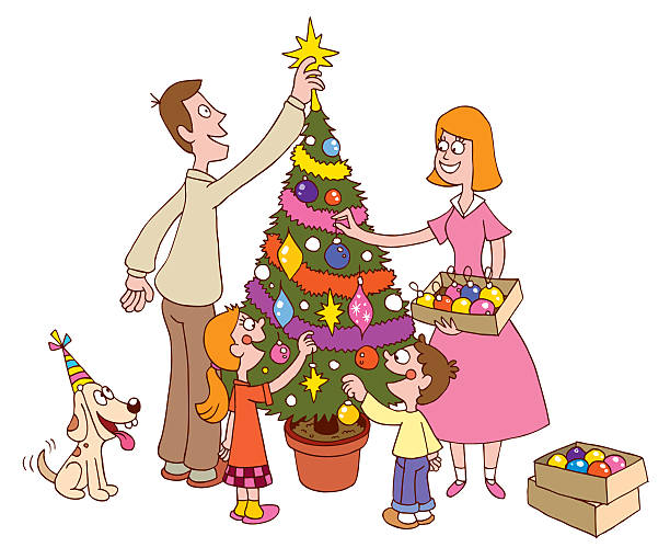 Family decorating Christmas tree together vector art illustration