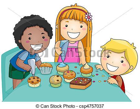Kids Decorating Cupcakes - cs - Decorate Clipart