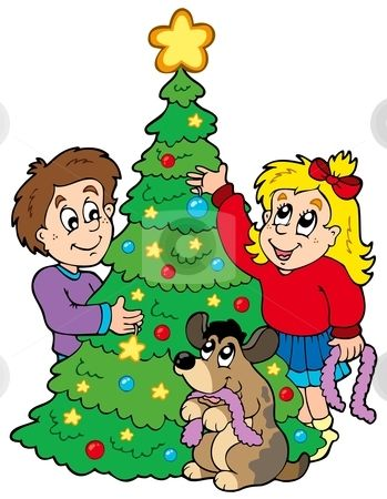 Two kids decorating Christmas - Decorate Clipart