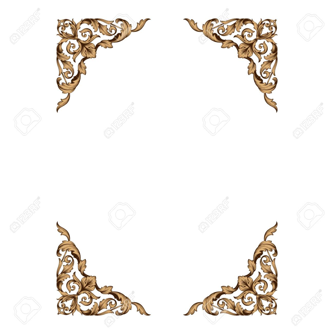 Decorative Line Gold Clipart baroque