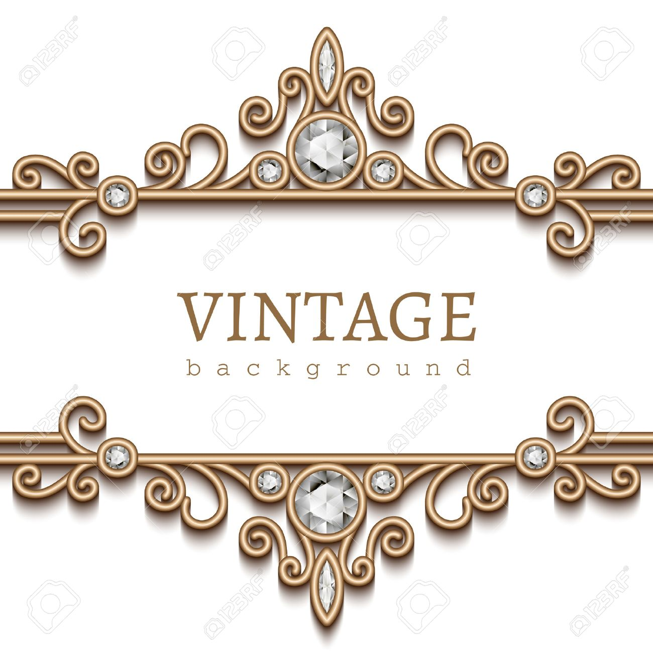 Vintage gold frame on white, divider, header, decorative jewelry background  Stock Vector -
