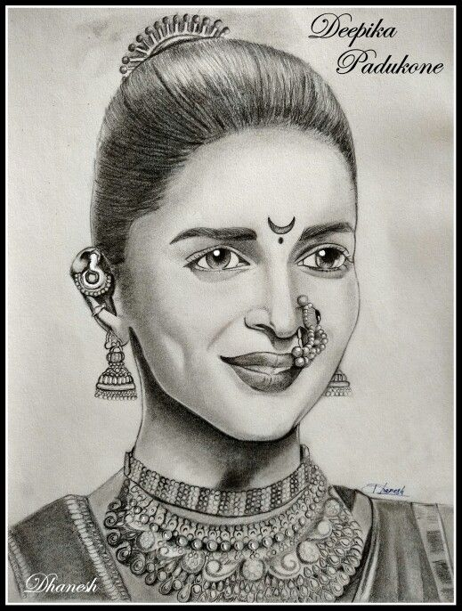 My sketch of Deepika Padukone from bajirao mastani.