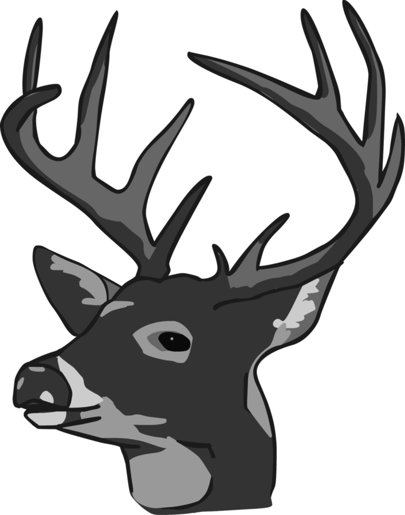 deer head clipart black and white-deer head clipart black and white-18