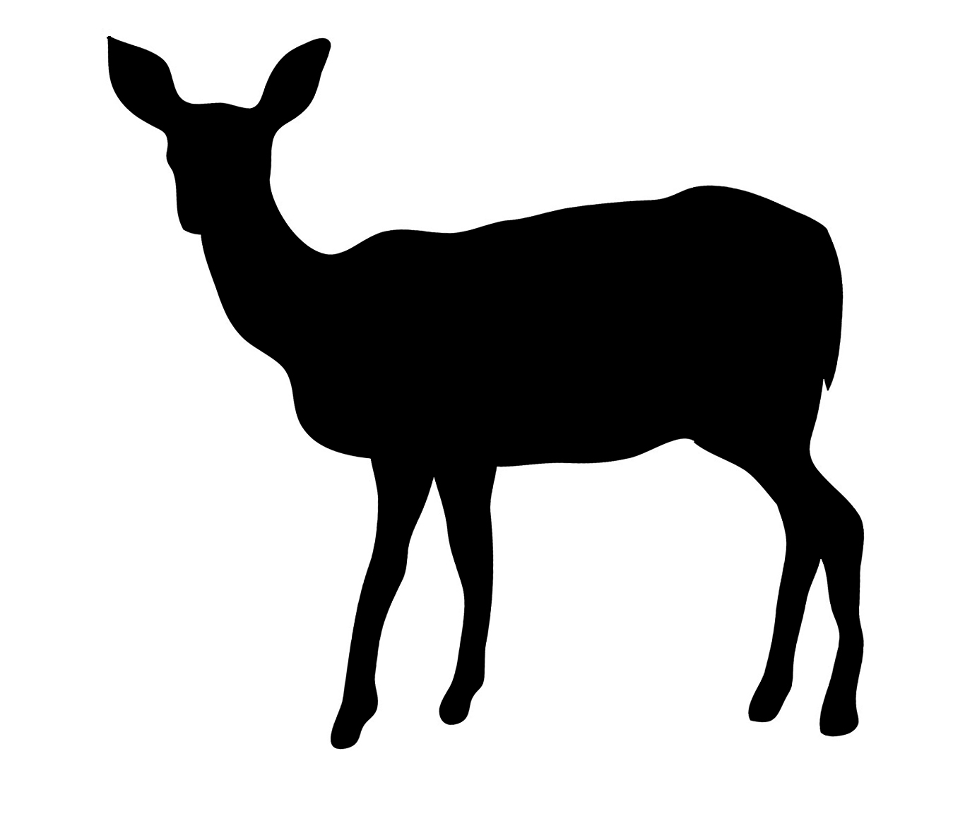 deer silhouette black frontal looking ..-deer silhouette black frontal looking ...-1