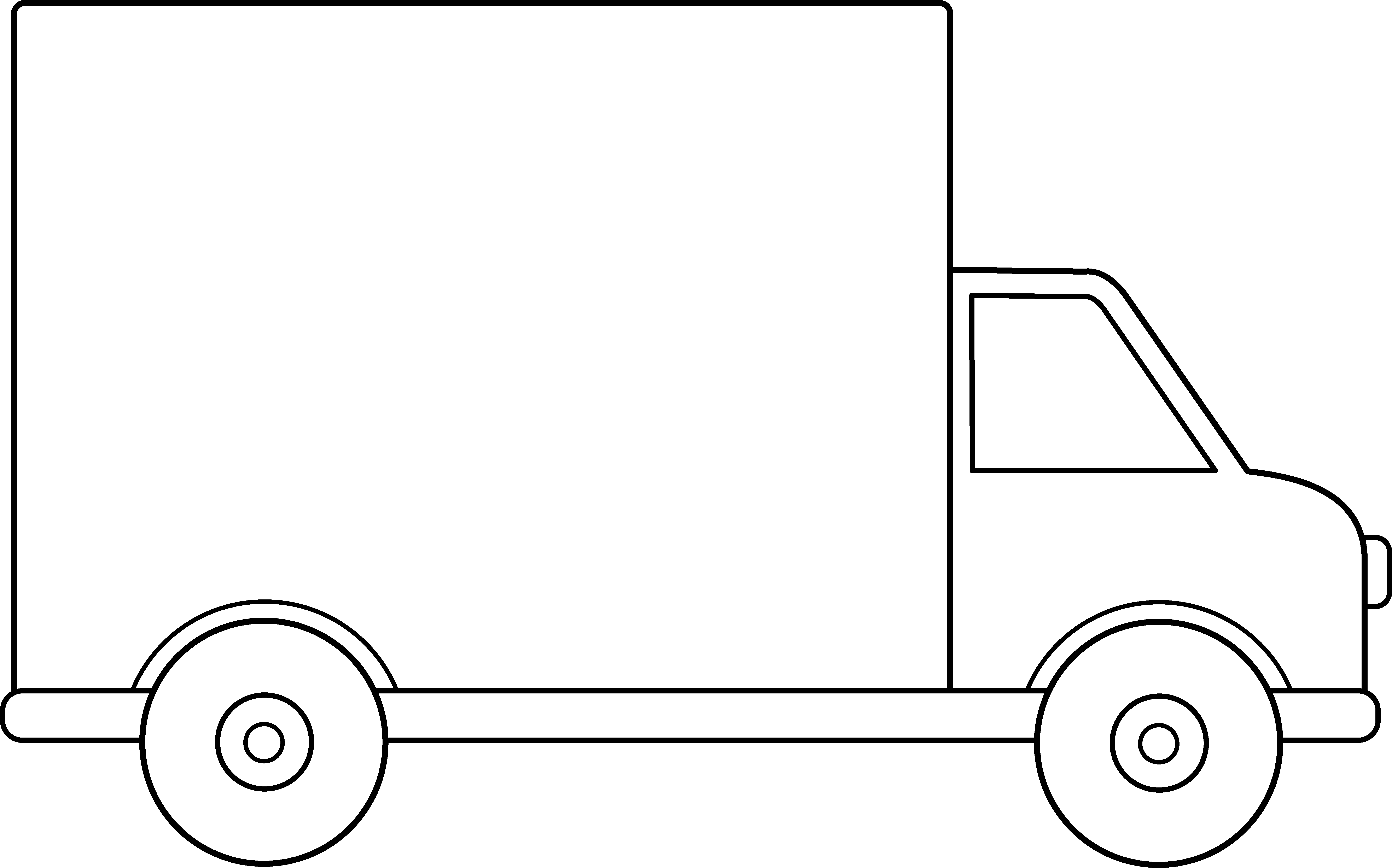 Delivery Truck Line Art - Free Clip Art