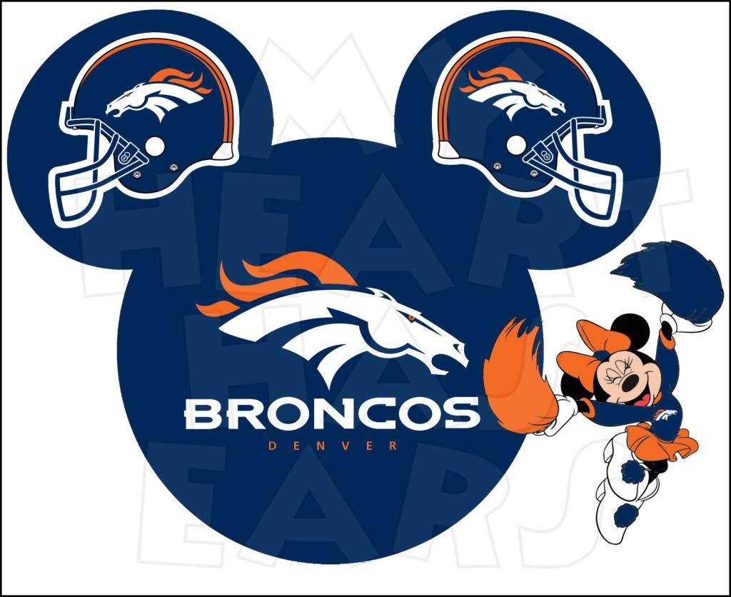 Denver Broncos Football With Minnie Mous-Denver Broncos football with Minnie Mouse INSTANT DOWNLOAD digital clip art-12