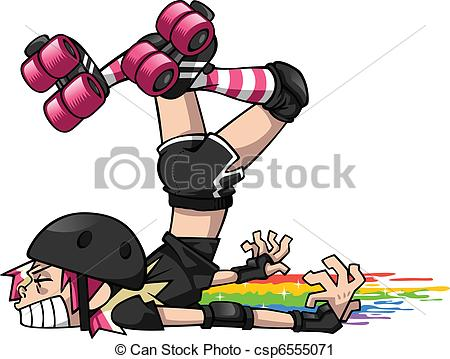 ... Derby Girl Wipeout - A blocker playing roller derby takes a.