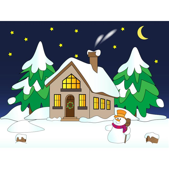 Description Vector Snowman With House Wi-Description Vector Snowman With House Winter Scene Snow Falling Night-2