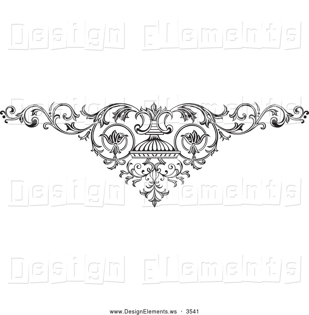 Design Element Clipart Of A Elaborate Elegant Ornamental Scroll With