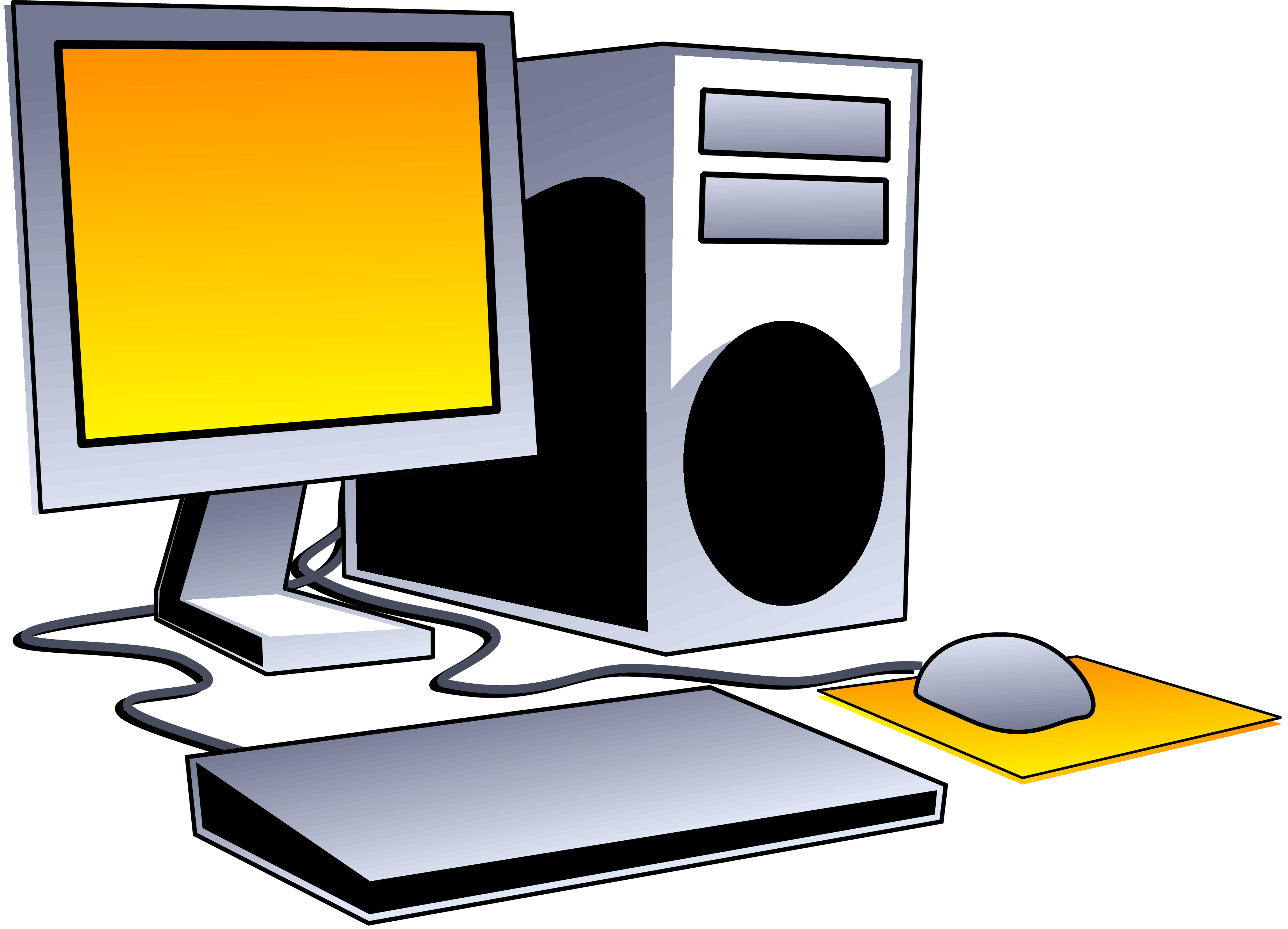 Desktop Computers Clipart - Clipart Of A Computer