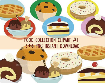 Desserts and baked goods clipart, food c-Desserts and baked goods clipart, food collection clipart, PNG on transparent background for scrapbooking, cards, and more, instant download-15
