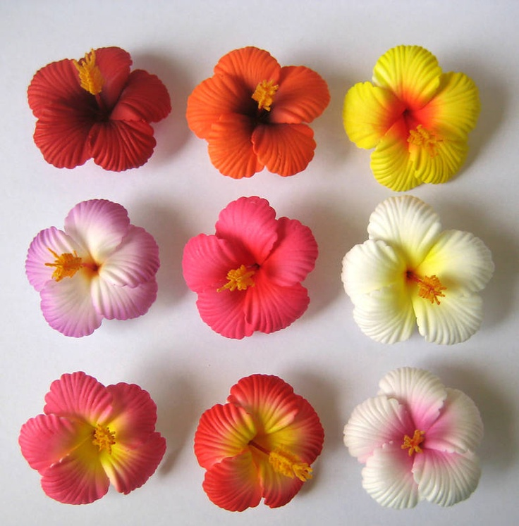 Details about Set of 20 ~Hawaiian Hawaii Bridal Wedding Party Hibiscus Foam  Flower Hair Clips