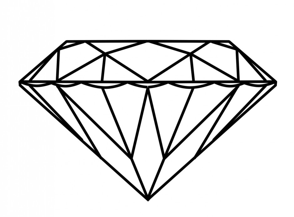 Diamond Ring Coloring Page - Diamond Clip Art