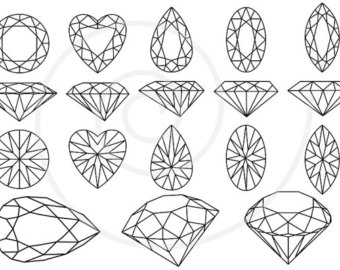 Diamonds and gem stones, jewels, jewelry, digital clip art, clipart, commercial use, vector, EPS, SVG, PNG, instant download