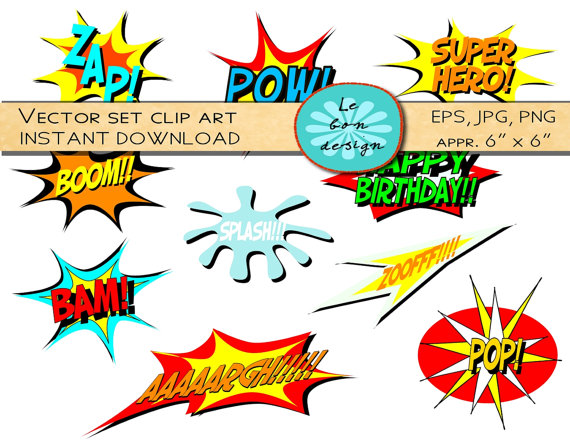 Digital Clip Art Vector Comic Book Superhero Text Personal And
