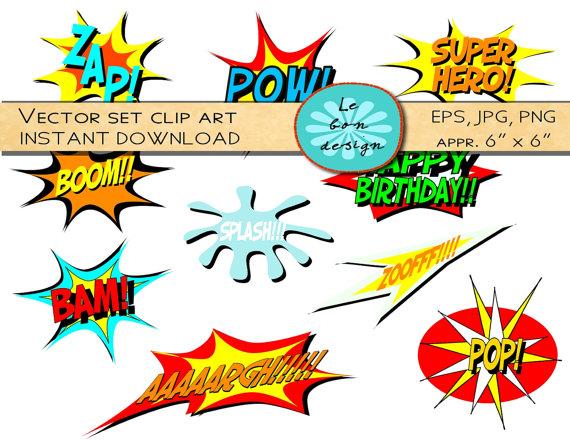 Digital Clip Art Vector Comic Book Super-Digital Clip Art Vector Comic Book Superhero Text Personal And-11