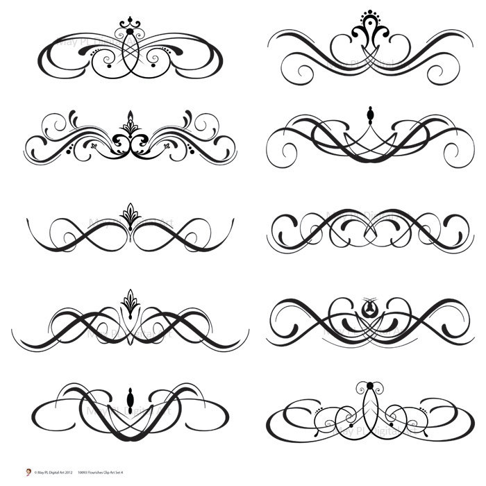 Digital Clipart Clip Art Flourish Swirls Vintage Fleur De Lis Digital