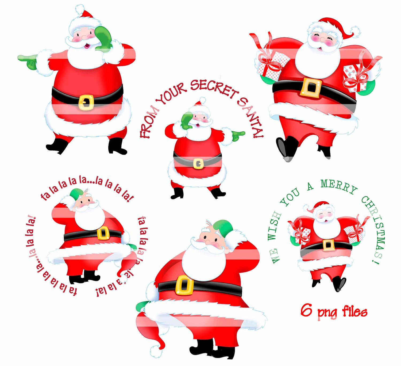 Digital Clipart Instant Download Secret Santa By Thedigitalchick