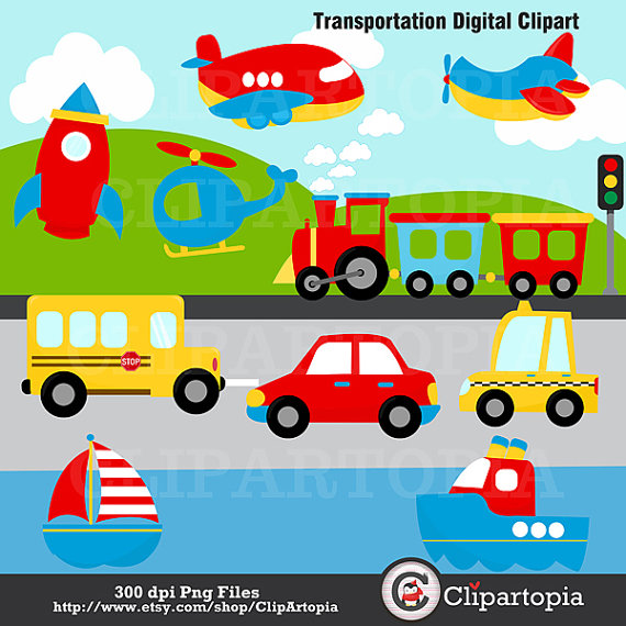 Digital Clipart Transportation Clip Art Plane Helicopter Train