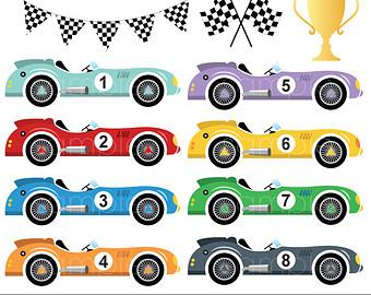 Digital clipart - Vintage Rac - Race Car Images Clip Art