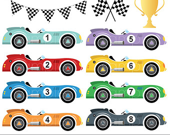 Digital clipart - Vintage Racing Cars for scrapbooking, paper crafts invitation cards making, invitations, only FOR PERSONAL USE