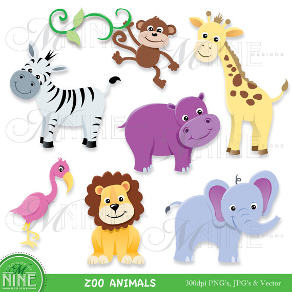 Digital Clipart Zoo Animals Clip Art Instant Download Elephant Lion