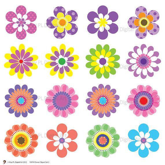 Digital Spring Flowers Clipart Clip Art Floral Scrapbooking Embellishment Supplies Digital Clipart Pink Green Blue Purple