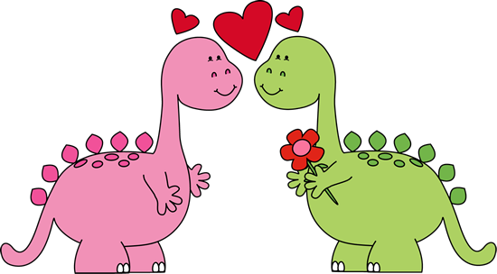 Dinosaurs In Love Valentines  - Valentines Day Clipart