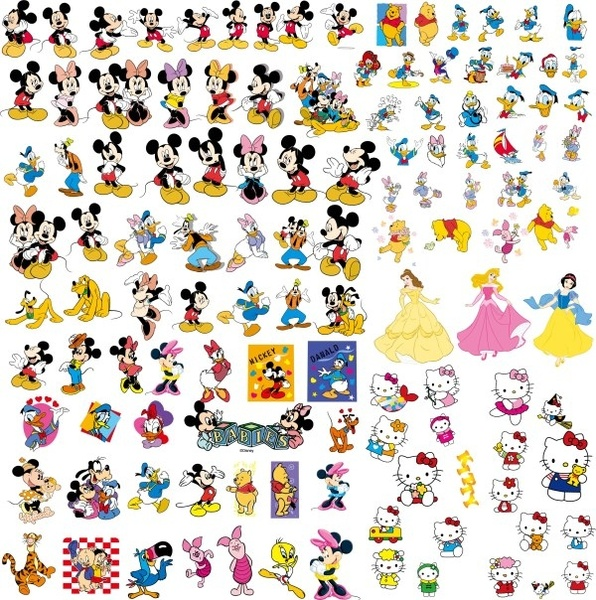 Disney cartoon clip art collection Free vector 4.93MB