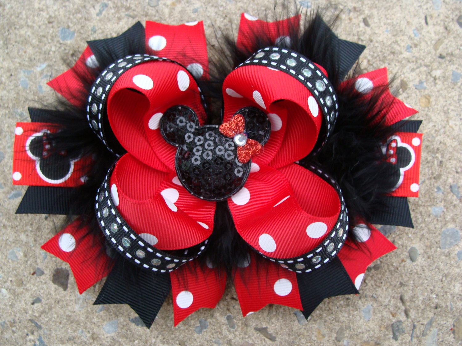Disney Hair Bow Boutique hair bow Minnie Mouse Hair Bow hair clip Feather Hair Bow Red and Black Minnie Mouse Hair Bow
