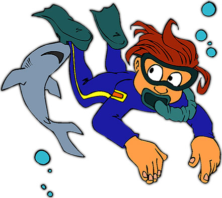 diver and a shark - Scuba Diver Clipart