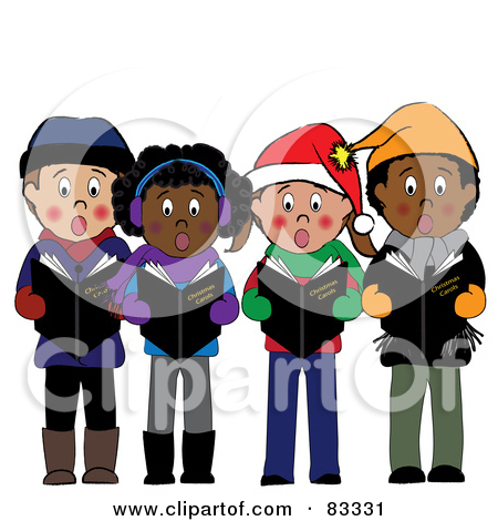 Diverse Group Of Boys And Girls Standing And Singing Christmas Carols by Pams Clipart