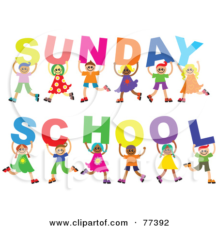 Diverse Group Of Children Holding Letters Spelling Out Sunday School by Prawny